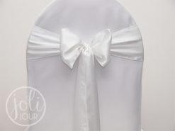 Location noeud blanc satin pour housses de chaises