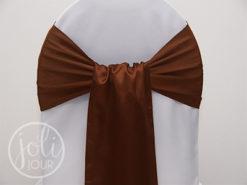 Location ceinturage marron chocolat satin pour housses de chaises