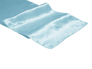 Location chemins de table bleu ciel (bleu pastel) en satin