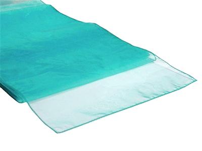 Location chemins de table bleu turquoise en organza - Mariage exotique, zen, theme plage, bord de mer