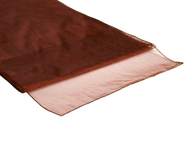 Location chemins de table marron chocolat en organza - Poitiers Niort Bressuire Saintes