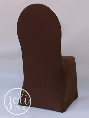 location housses de chaise marron chocolat en lycra joli jour. Black Bedroom Furniture Sets. Home Design Ideas
