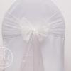 Location noeud blanc ivoire en organza pour housses de chaises