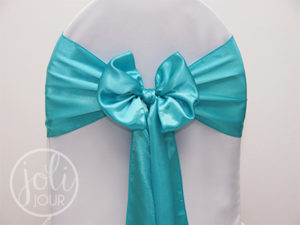 Location noeud bleu turquoise satin pour housses de chaises