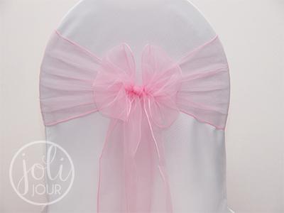 Location noeud rose pale organza pour housses de chaises