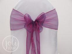 Location noeud violet aubergine prune organza pour housses de chaises