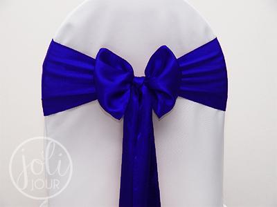 Location Noeud Bleu Roi Satin Pour Housses De Chaises
