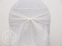 Location ruban blanc ivoire en organza pour housses de chaises