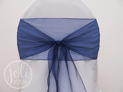 Location ruban bleu nuit organza pour housses de chaises