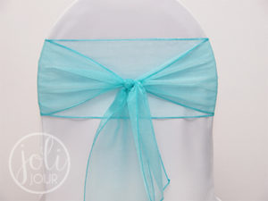 Location ruban bleu turquoise organza pour housses de chaises