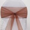 Location ruban marron chocolat organza pour housses de chaises