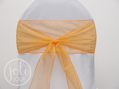 location noeud organza orange p che pour chaises joli jour. Black Bedroom Furniture Sets. Home Design Ideas