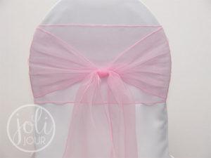 Location ruban rose pale organza pour housses de chaises