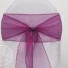 Location ruban violet aubergine prune organza pour housses de chaises