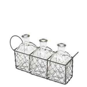 Location trio mini bouteilles en verre panier metal tressé decoration mariage