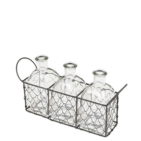 Location-trio-mini-bouteilles-en-verre-panier-metal-tressé-decoration-mariage