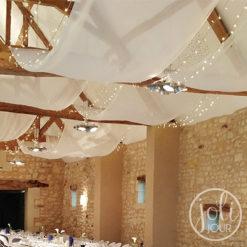 Location voilages mousseline blanche plafond decoration mariage