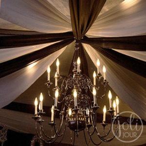 Location voilages noirs plafond decoration mariage
