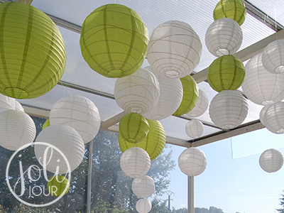 idees decoration mariage lanternes vert anis blanc theme nature